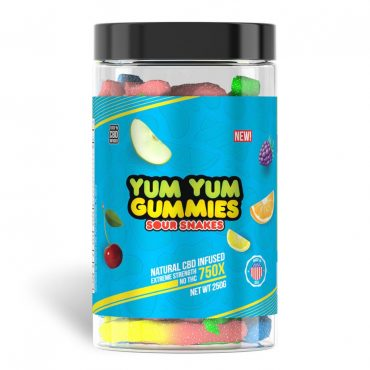 Yum Yum Gummies 750x - CBD Infused Sour Snakes [Edible Candy]