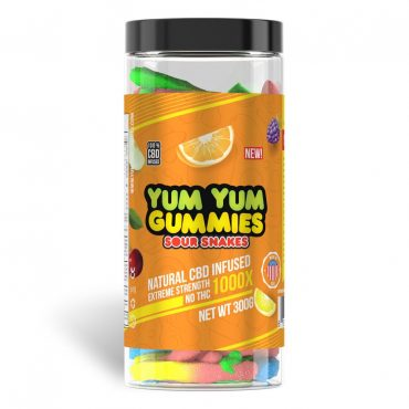 Yum Yum Gummies 1000x - CBD Infused Sour Snakes [Edible Candy]